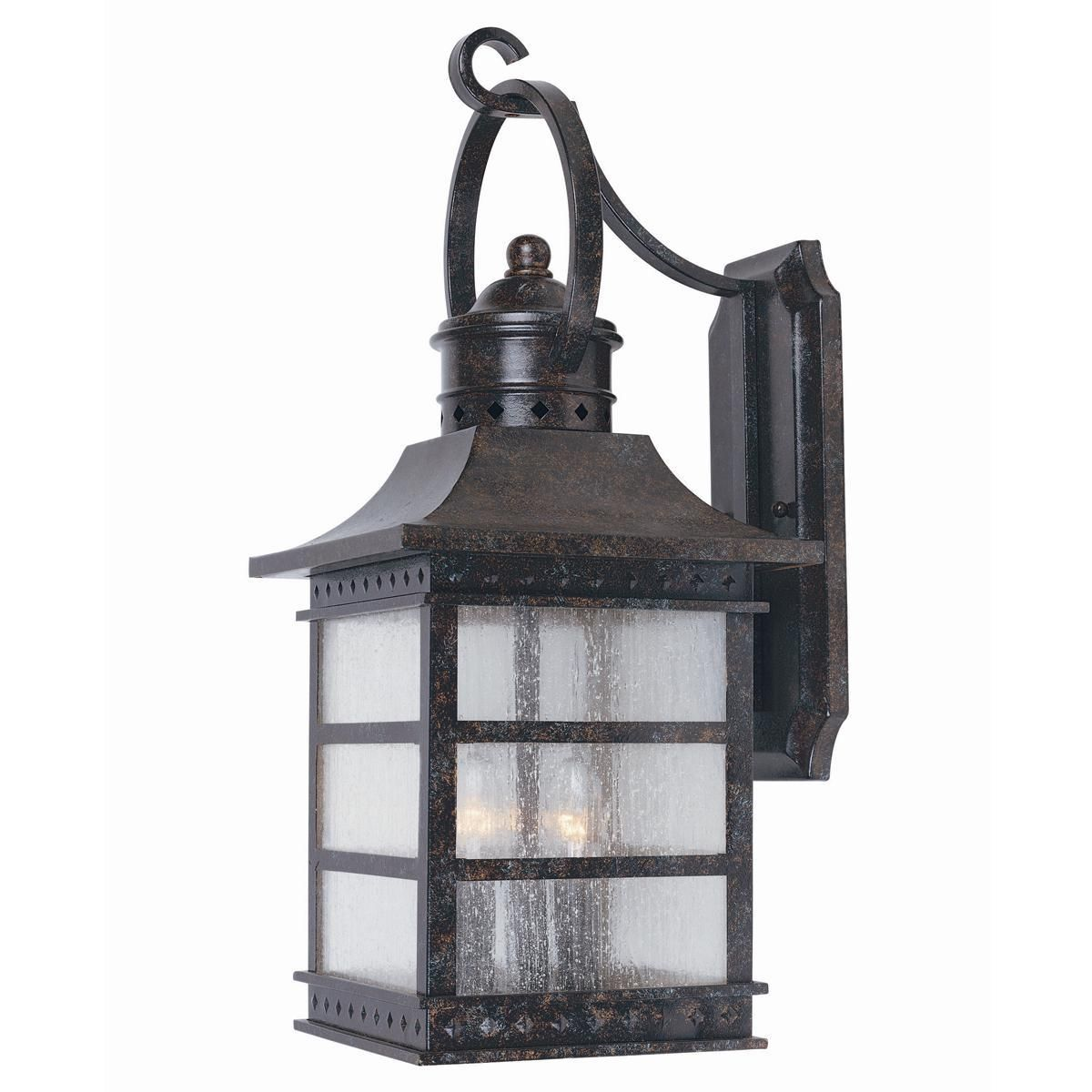 Large Rustic Finish Lantern Wall Mounted Light Sconce: Carriage House Outdoor Light - Large