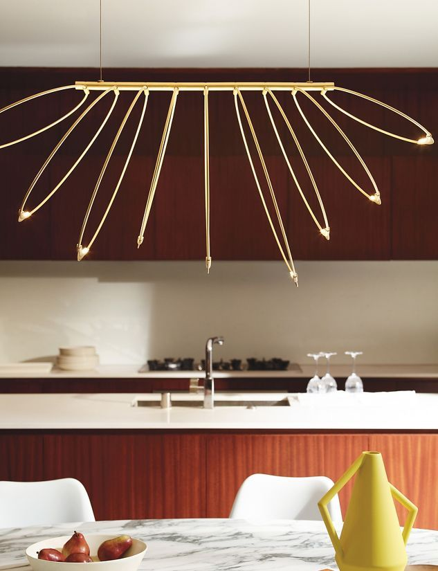 Rings LED Chandelier Over Dining Table