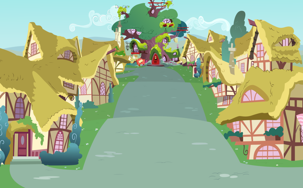 ponyville street view towards library by boneswolbach on deviantart