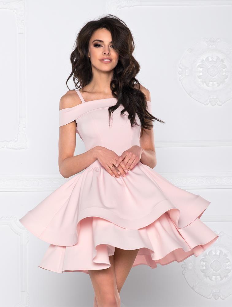 e3eaf2e3d9 Sukienka z Odkrytymi Ramionami SHE01 Różowa Wiosenne Sukienki