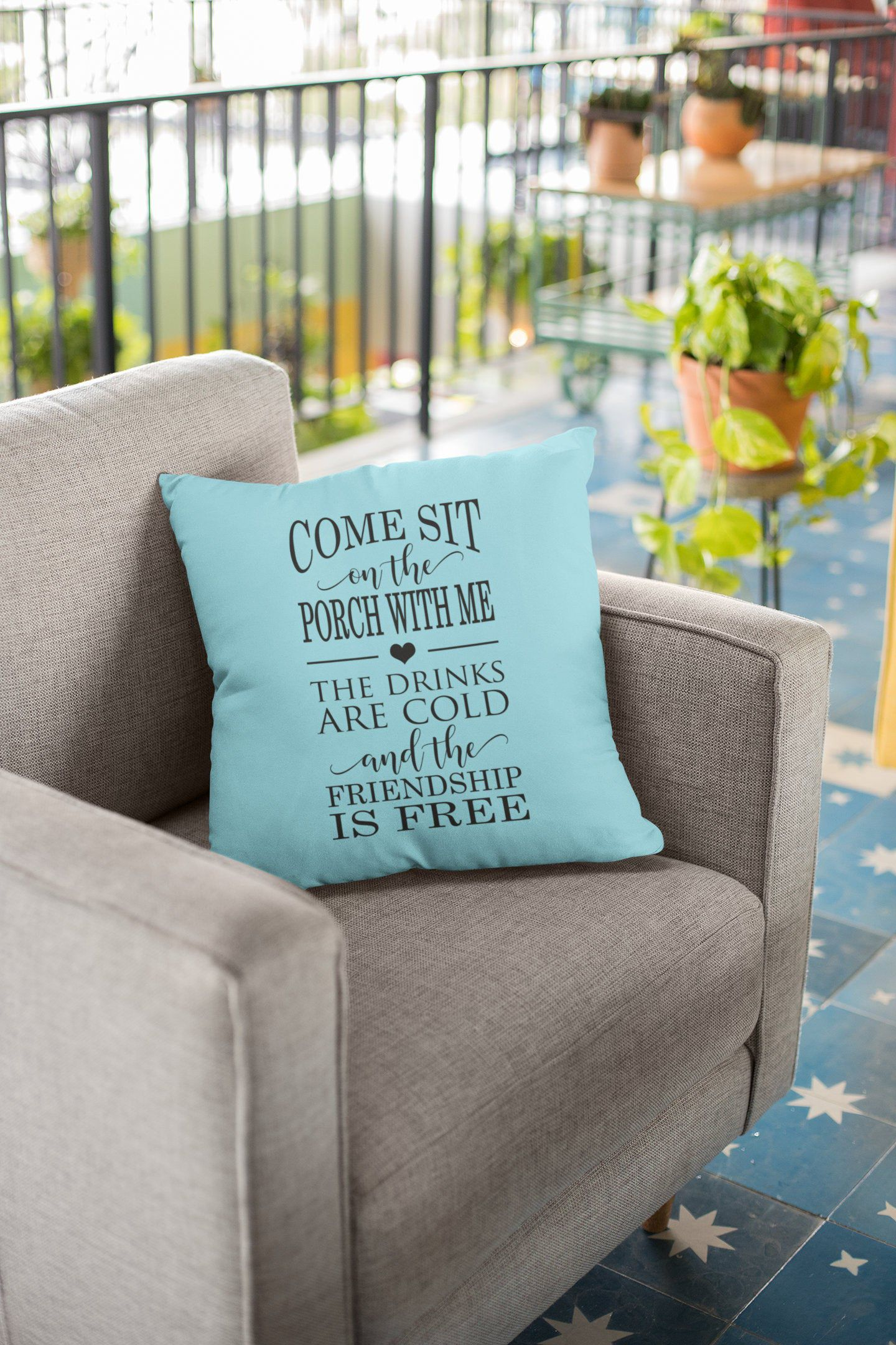 Blue pillow come sit on the porch with me cottage patio