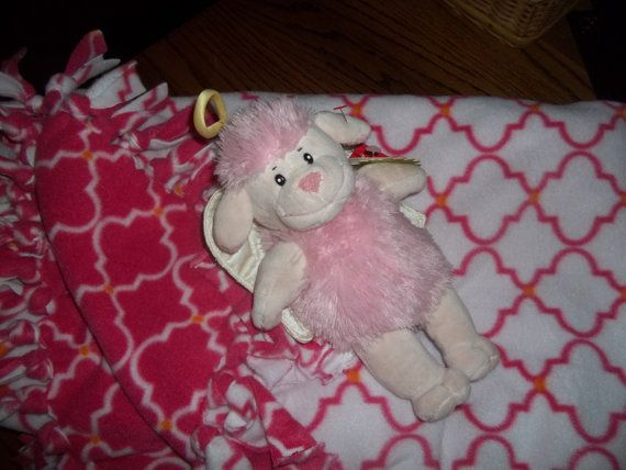Hand Tied Pink  Double Sided Baby Blanket with by KathyLovesSewing