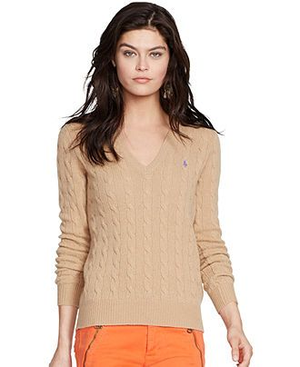 01ee2340a Polo Ralph Lauren V-Neck Cable-Knit Wool-Cashmere Sweater - Sweaters -  Women - Macy s