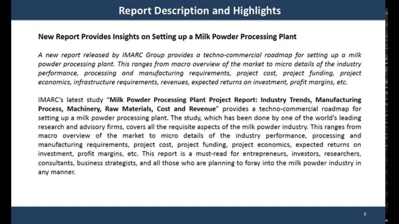 Milk Powder Processing Plant Project Report  Global Market Report