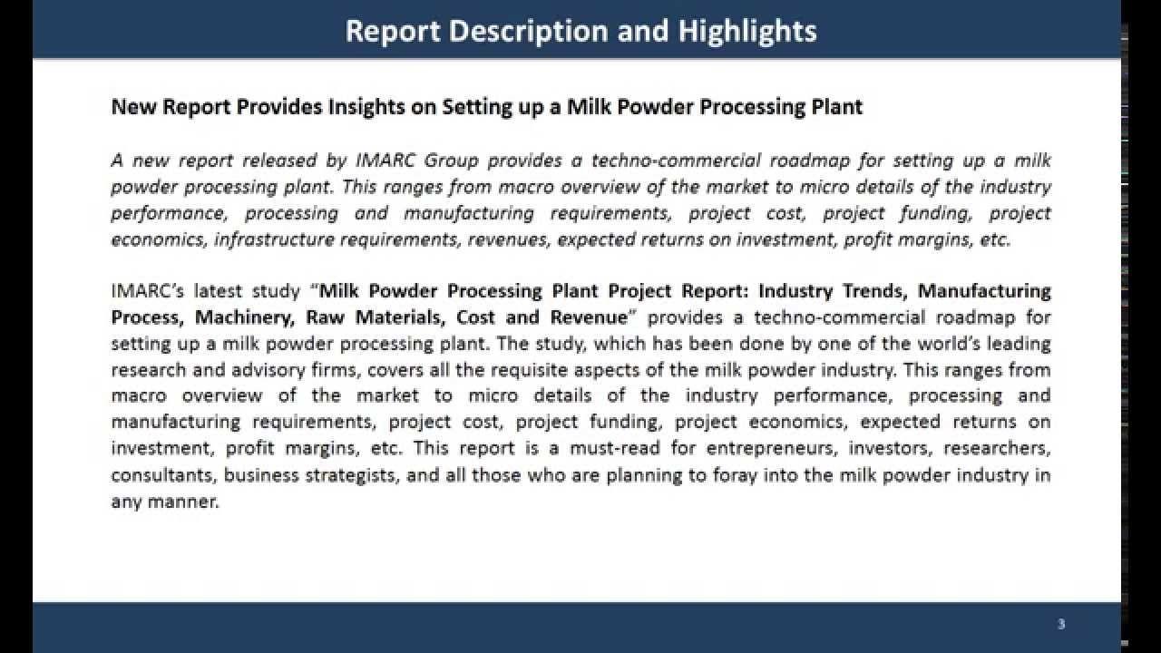 Milk Powder Processing Plant Project Report  Global Market Report