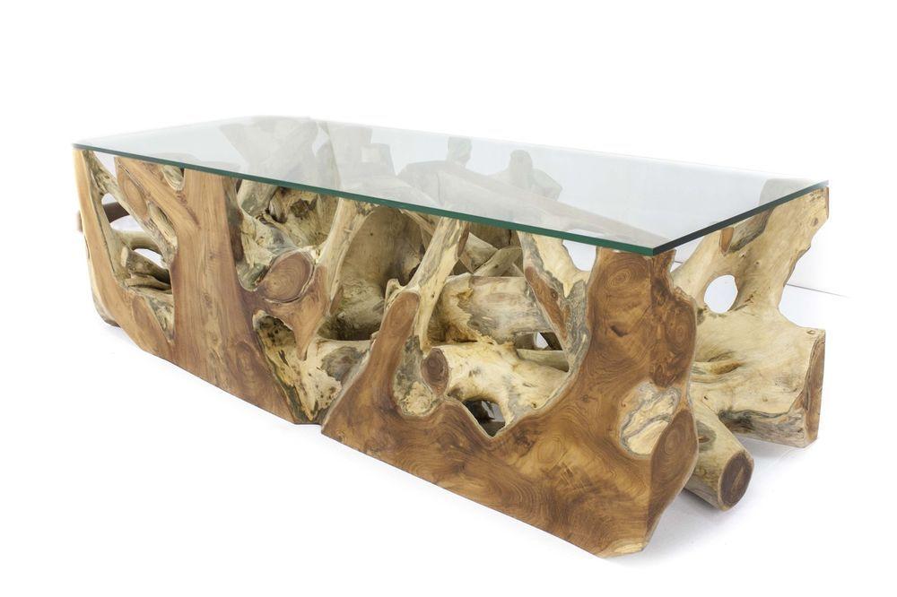 Wohnzimmertisch Couchtisch Baumwurzel Teak Tisch Glasplatte 140
