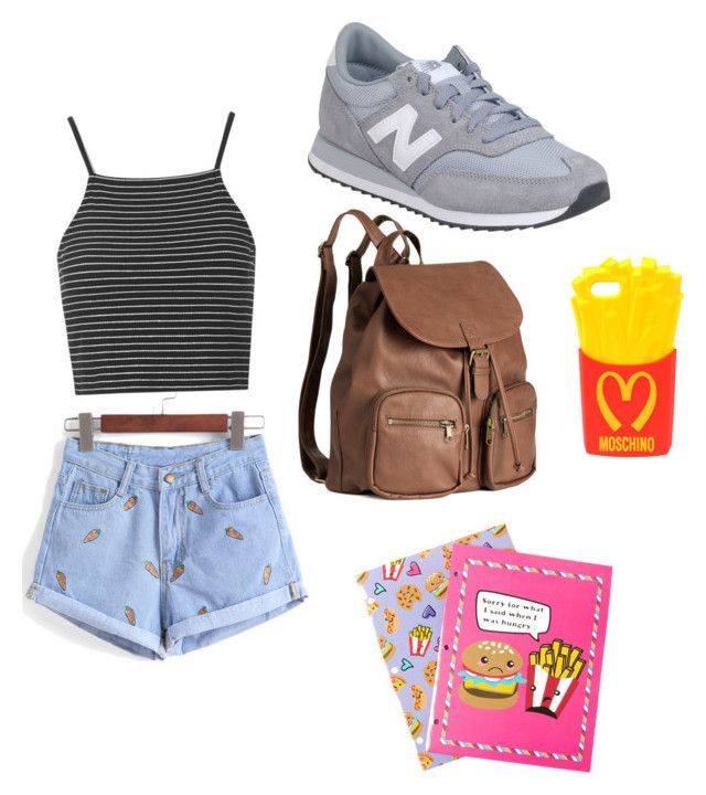 """""""Geen titel #6"""" by xoirisjeexo on Polyvore featuring mode, Topshop, New Balance, H&M, Moschino en claire's"""