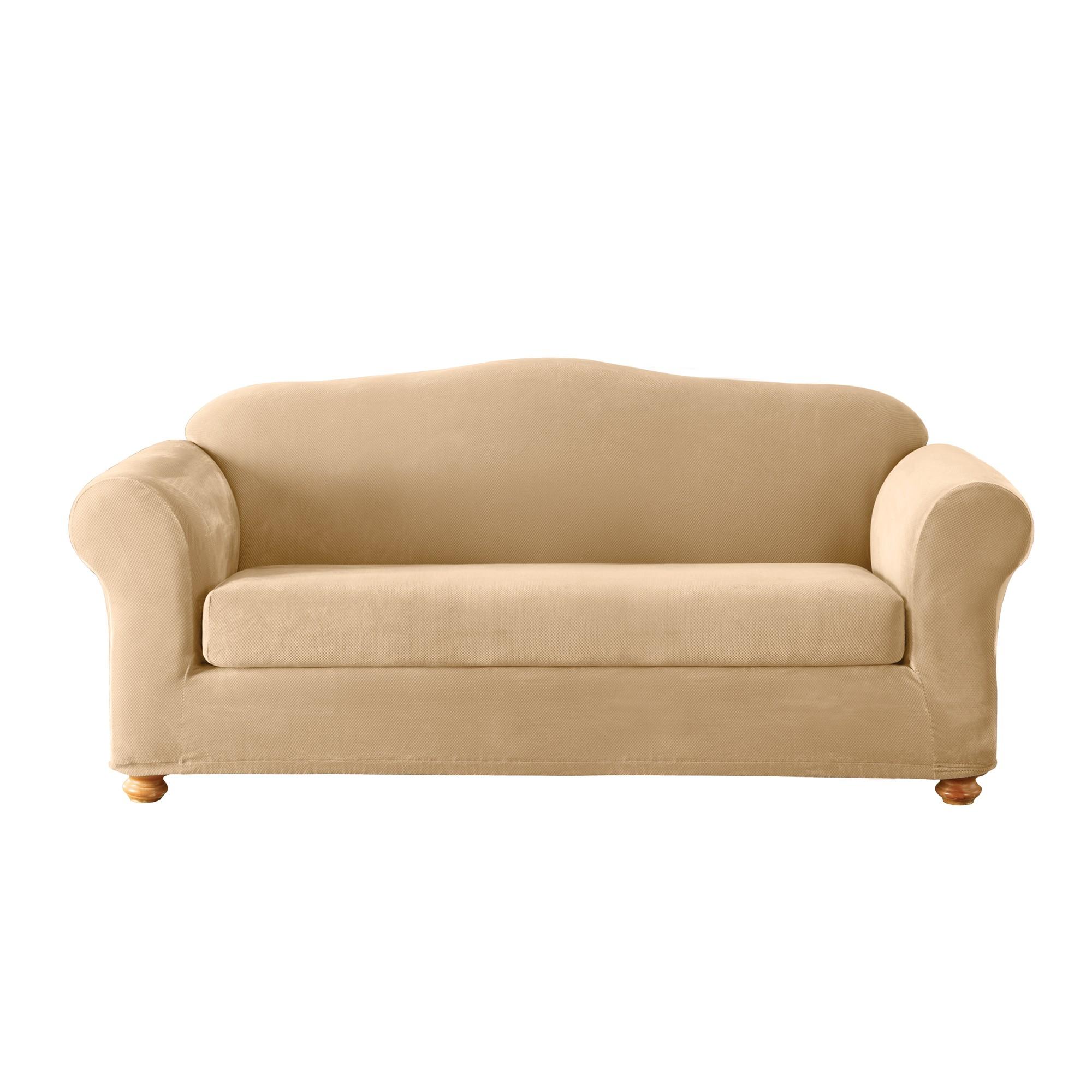 Cream Stretch Pique 3pc Sofa Slipcover