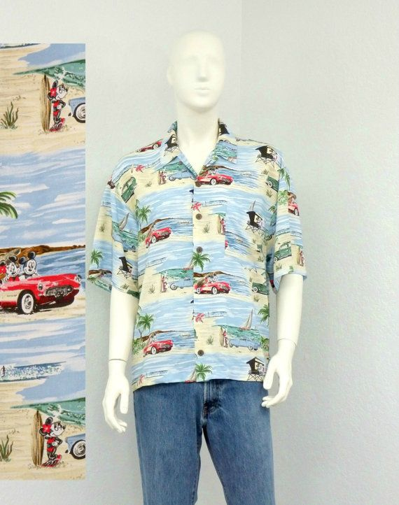 61f2579c Vintage 90s Rayon Disney Hawaiian Shirt, Mickey Mouse Shirt, Novelty ...