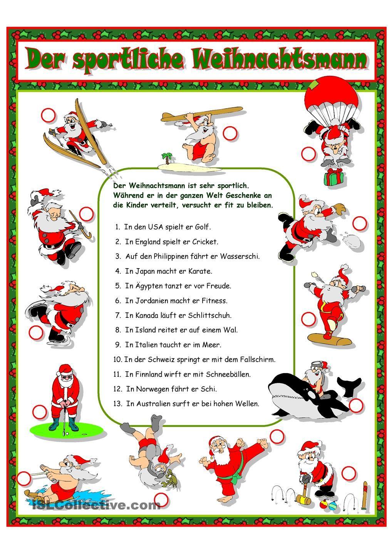 Der sportliche Weihnachtsmann | Weihnachten-DaF/DaZ (NATAL NO CURSO ...