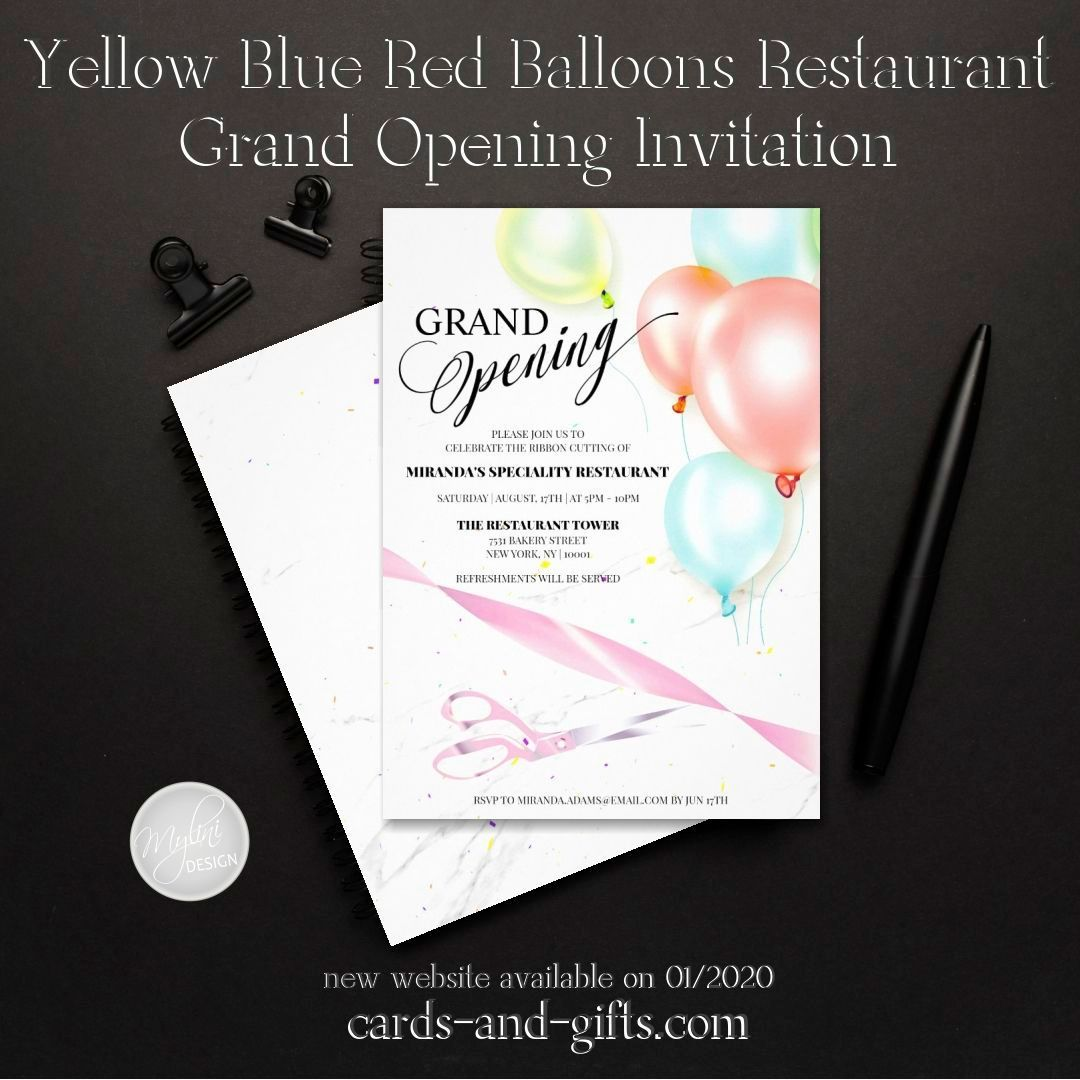 Yellow Blue Red Balloons Restaurant Grand Opening Invitation Zazzle Com In 2021 Grand Opening Invitations Invitations Balloons