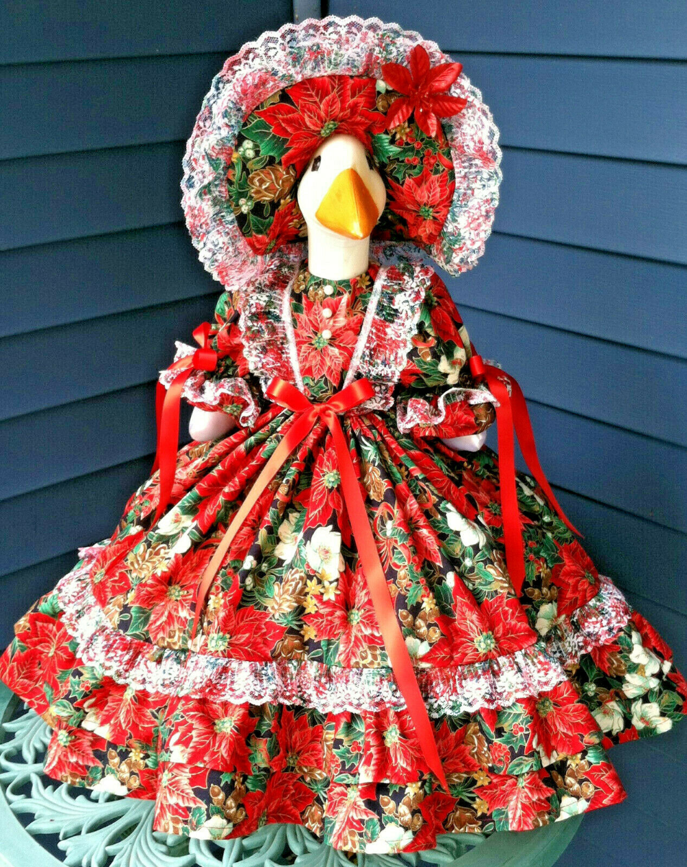Details About Goose Outfit Christmas Pointsettias And Florals Goose Clothes By Linda Goose Clothes Clothes Outfits