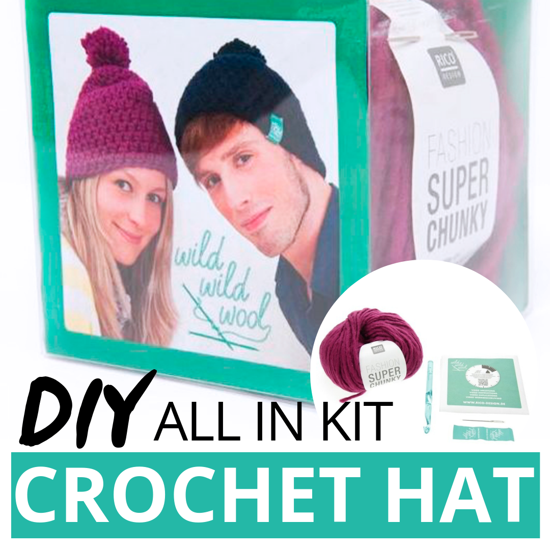 DIY How to Make Pompon Crochet Hat Rico Design - Easy Tutorial Step by Step