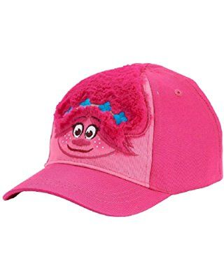 7cd8eb1fca7 Trolls Baseball Hat for Girls Adjustable Cap Toddler Faux Fur Poppy 2T-4T