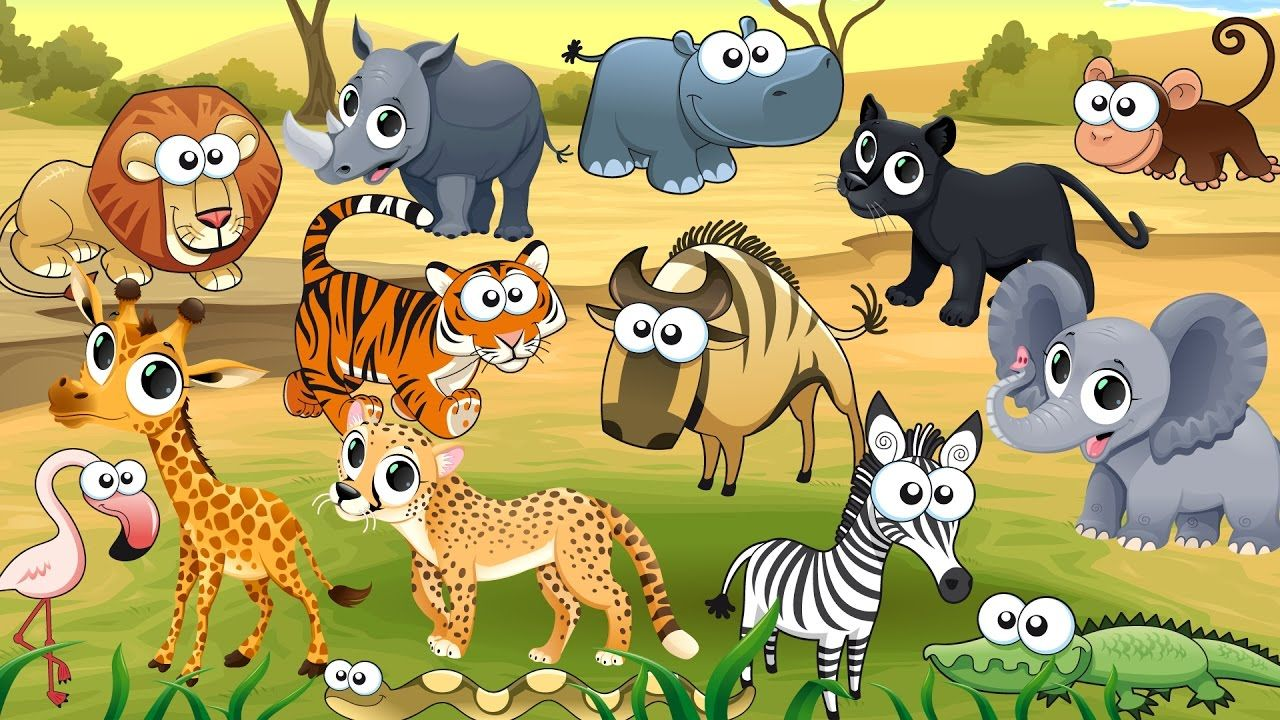 Cartoon wild animals background vector image on สัตว์