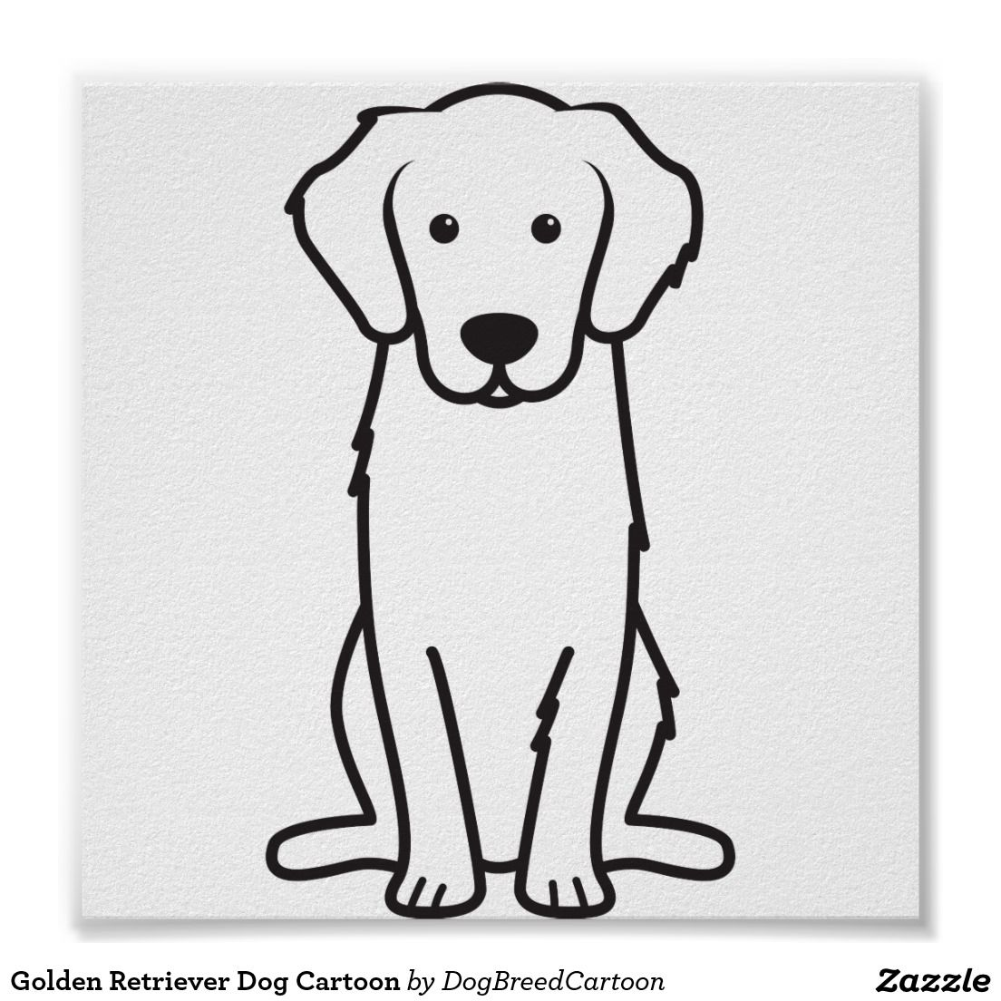 Golden Retriever Dog Cartoon Poster Zazzle Com Cartoon Dog