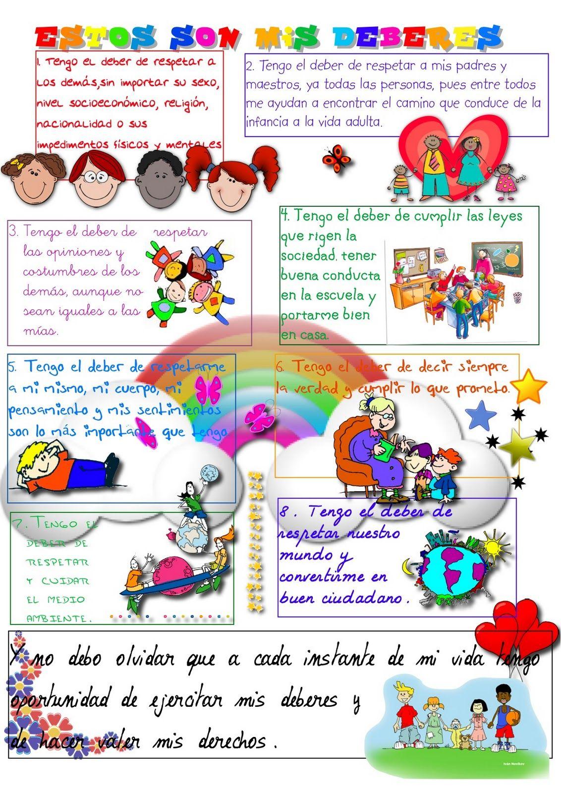 Derechos Y Deberes Del Niño Deberes De Los Niños Obligaciones Del Niño Derechos De Los Niños