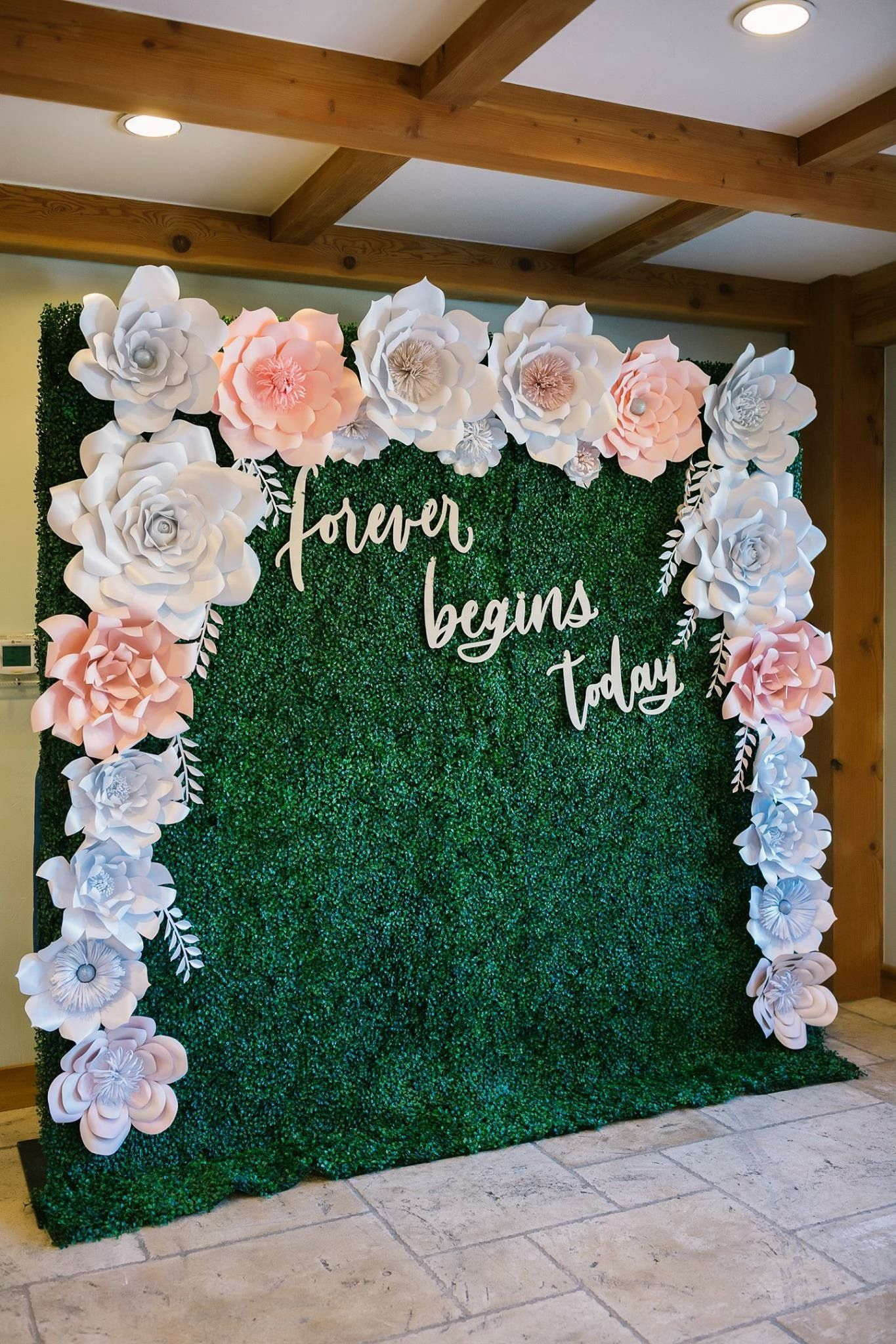 Paper Flower Backdrop Forever Begins Today Boxwood