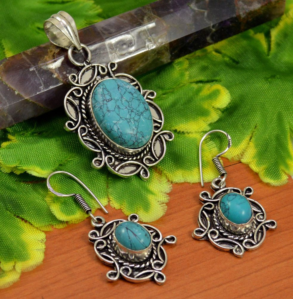 Natural rare turquoise gemstone silver plated design pendant