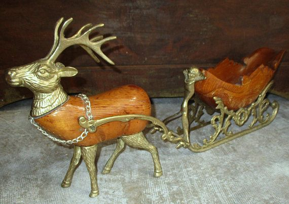 Vintage Christmas Sleigh and Reindeer Figurines Model made of Brass