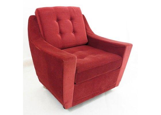 Vintage Red Corduroy Armchair | millers terrace | Swivel ...