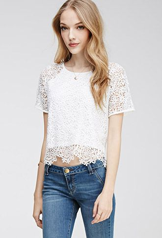 Scalloped Floral Crochet Top.