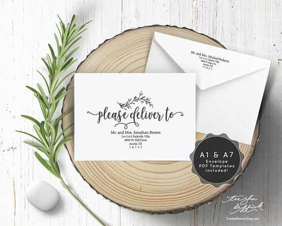 Editable Envelope Template Please Deliver To Instant  Wedding