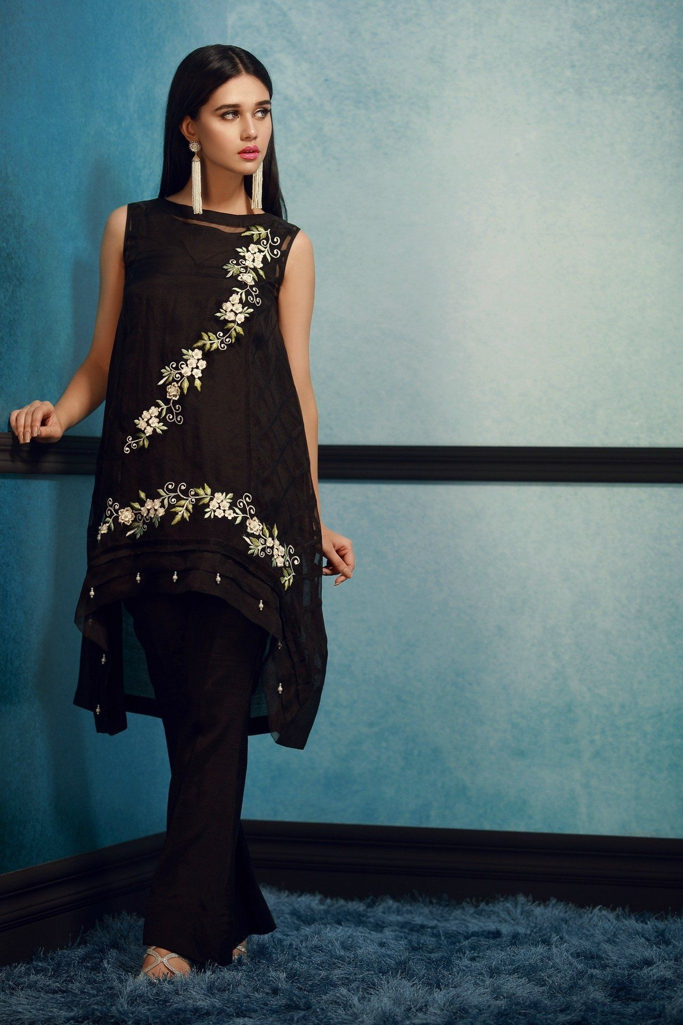7b6ecc54f2 Elegant 3 Piece Organza Black Designer Dress By Phatyma Khan Fall Collection  2017 Available Online For Shopping. Pakistan Pret Wear 2017 Linen Collection  ...