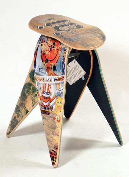 Skateboard Upcycled Chair: This Chair Demonstrates The Creative Aspect Of  Upcycling. This Design Incorporates