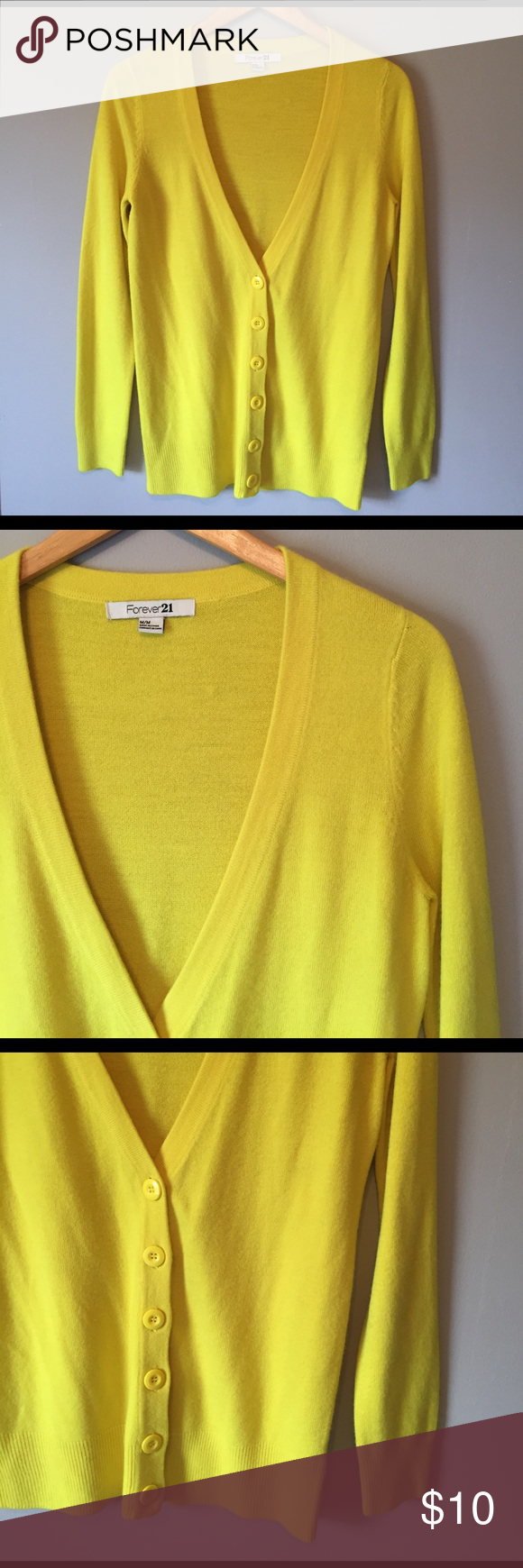 Forever 21 yellow Cardigan Add some sunshine to your wardrobe with ...