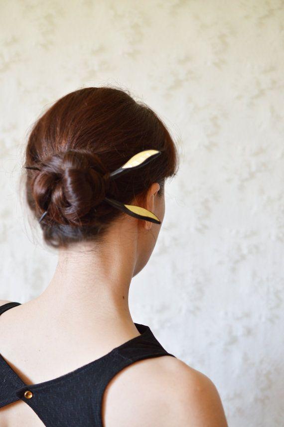 Wooden hair pic stings baguette bun handmade hairstyle