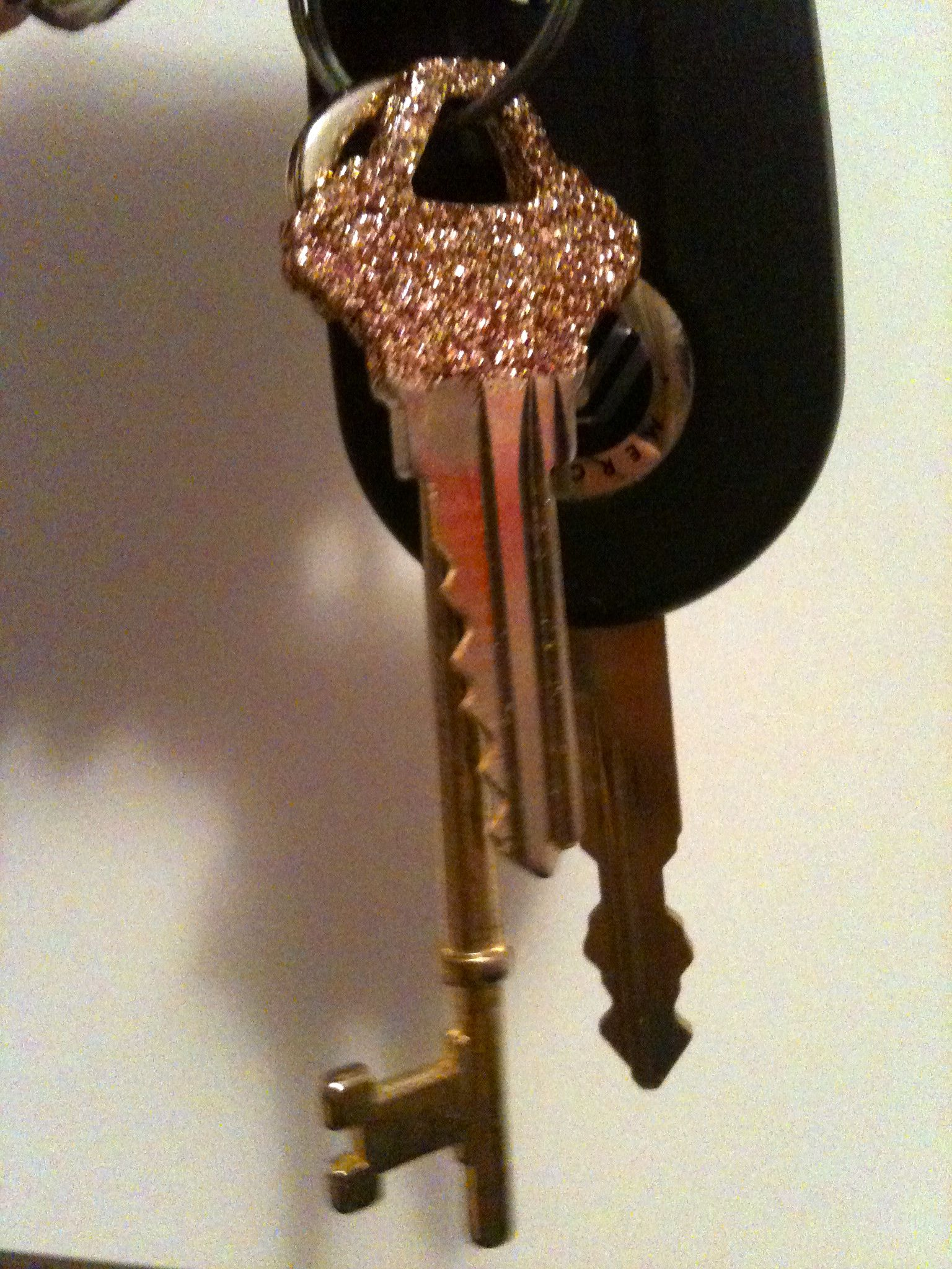 glitter keys to easily differentiate, and duh, because it's pretty. This is Martha Stewart glitter in Bronze. LOVE IT!