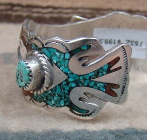 Photo of Item # 753Z – Ladies Vintage 70's Navajo Turquoise Coral Inlay Waterbird w/Turquoise Nuggets Watchcuff —*Native American Women's Watch Cuffs- EAGLE ROCK TRADING POST-Native American Jewelry