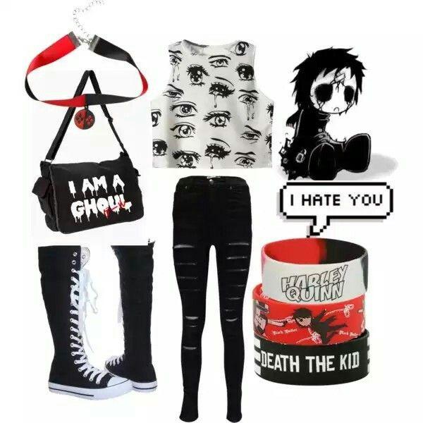 lujo estilos de moda Venta caliente genuino Emo School Outfit #2 Otaku - Polyvore | Ropa caguai | Ropa ...