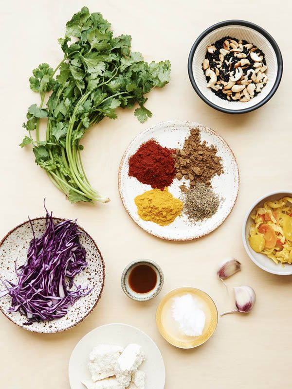 Five Spice Kentucky Fried Tofu with Kim Chi Coleslaw ingredients. Speckled bowl and plate by Sarah Schembri from Craft Victoria, all other ...