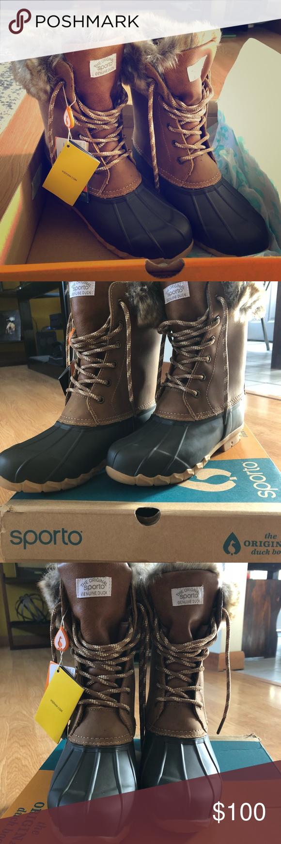 "ac08af0aee7 Sporto Original Duck Boots NIB Sporto ""Agnes"" fur-lined winter boots ..."