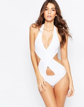 Asos Halter Cross Wrap Front Swimsuit Asos Swimwear Swimsuits Halter One Piece Swimsuit