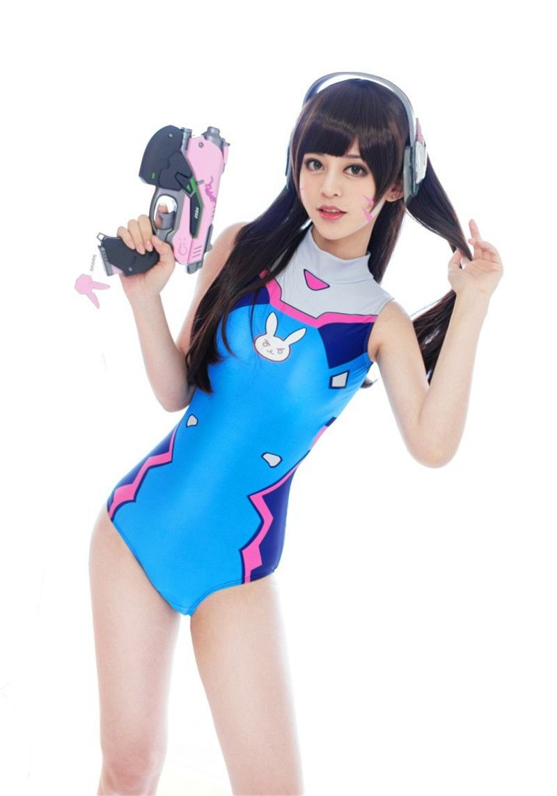5e1532bfea4a5 Ow Game Overwatch Cosplay Swimsuit D. Va Swimwear Dva Swimming One Piece  Suit