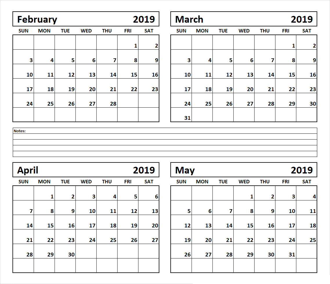 image regarding 4 Month Printable Calendar identified as 4 Thirty day period February March April Could possibly 2019 Calendar #March #April