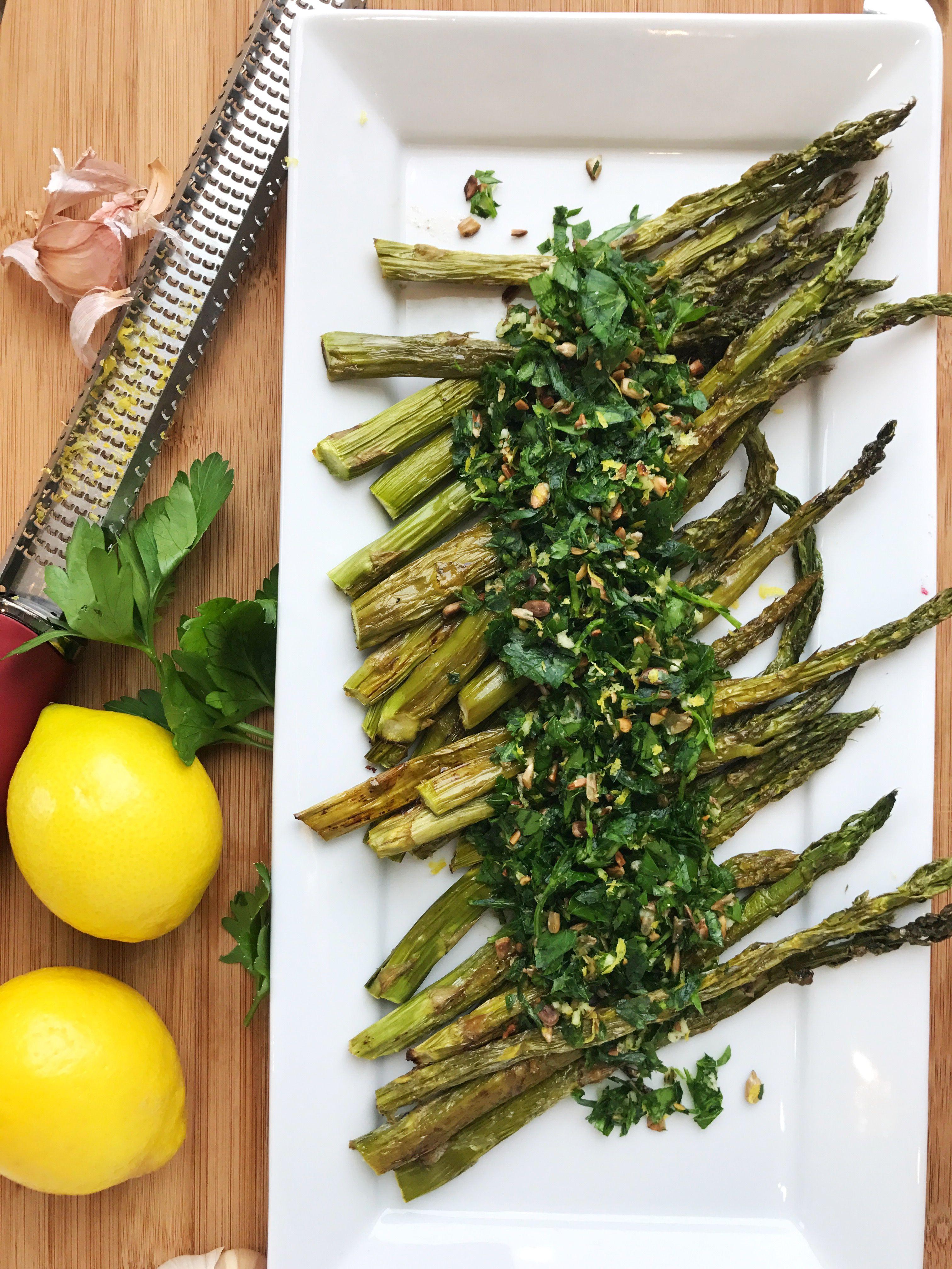 Asparagus with sunflower gremolata asparagus gremolata