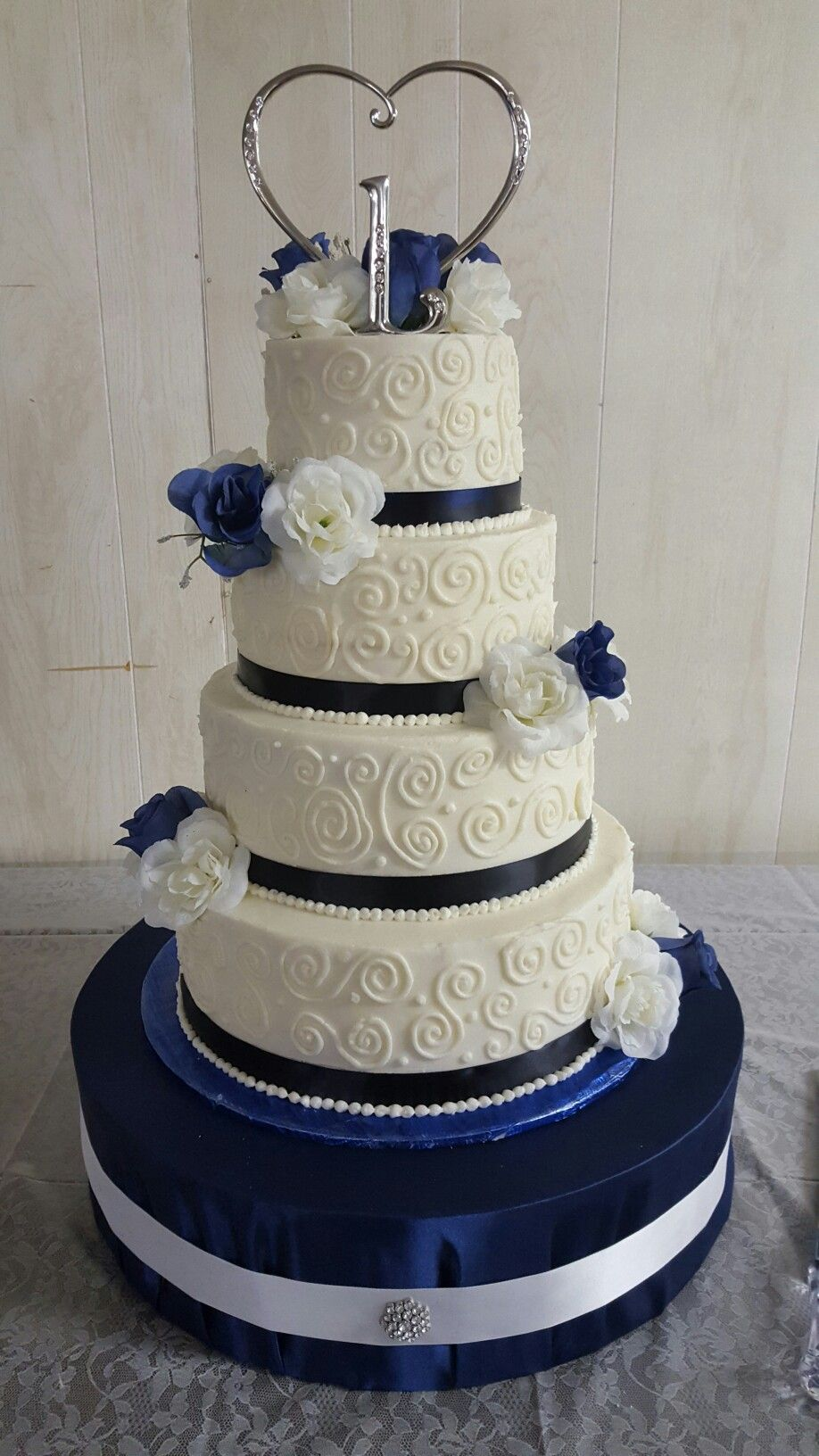 Navy Blue And White Wedding Cake 6 Inch 8 Inch 10 Inch And 12