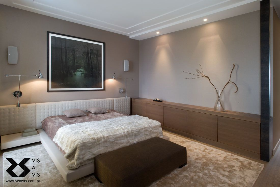 . Luxurious modern zen bedroom  Bespoke joinery and headboard designed