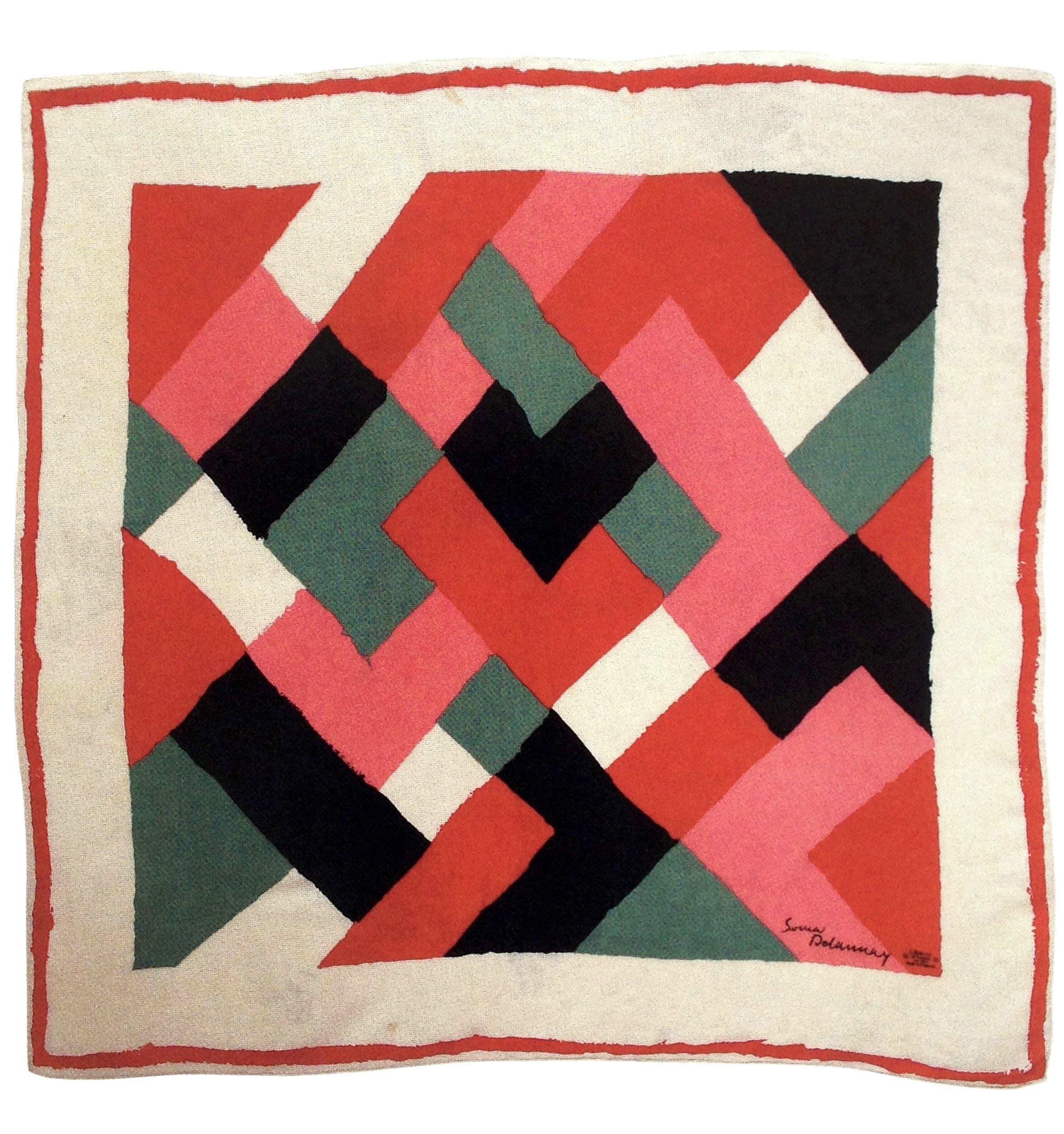 Colour blocking on bias, silk printed scarf design by Sonia ...