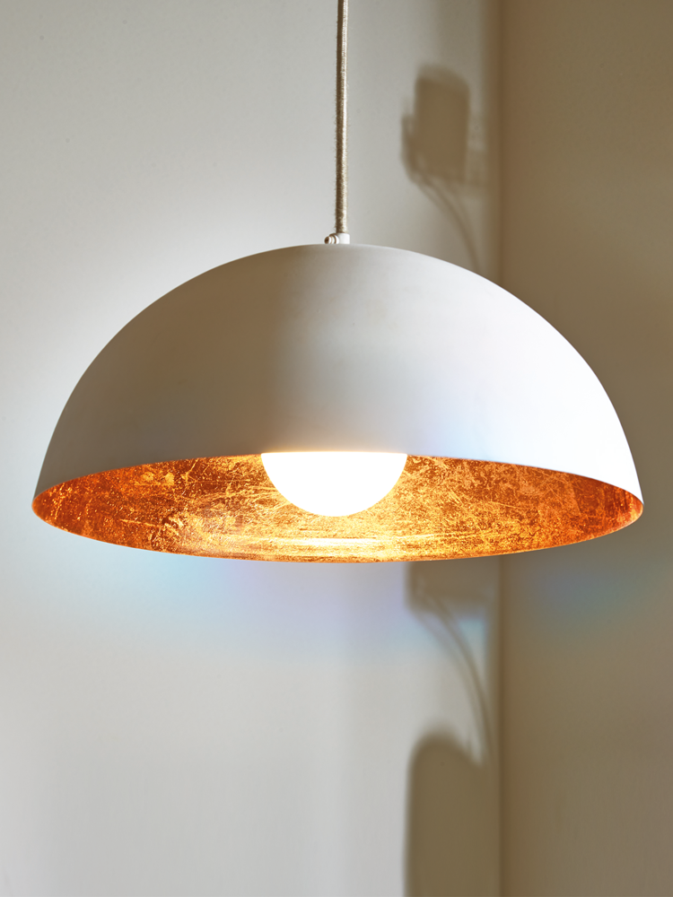 Exceptionnel White U0026 Copper Pendant Lightshade   Lighting