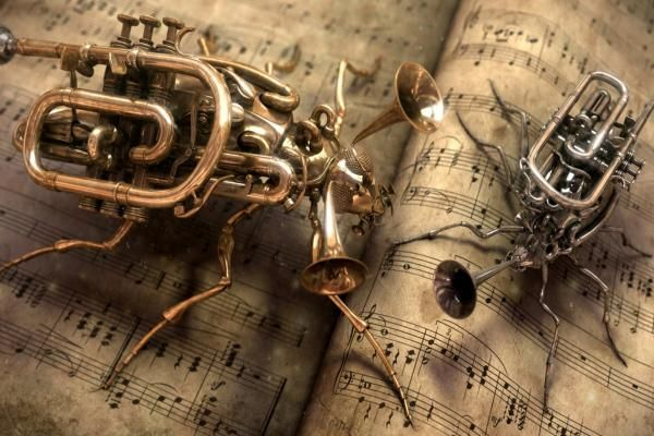 Music Steampunk. Awesome image. Love these little creatury instruments. :-)