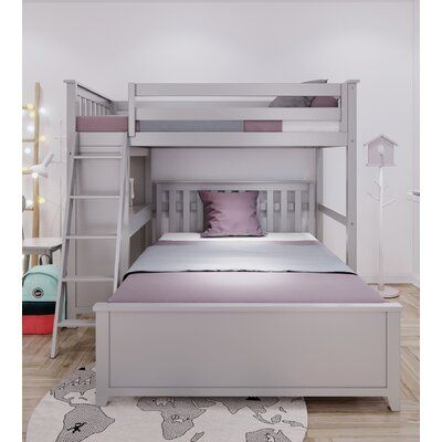 Harriet Bee Geyer Twin Over Full L Shaped Bunk Bed Bed Frame Color Gray Bunk Bed With Desk Bunk Beds For Girls Room Bed For Girls Room