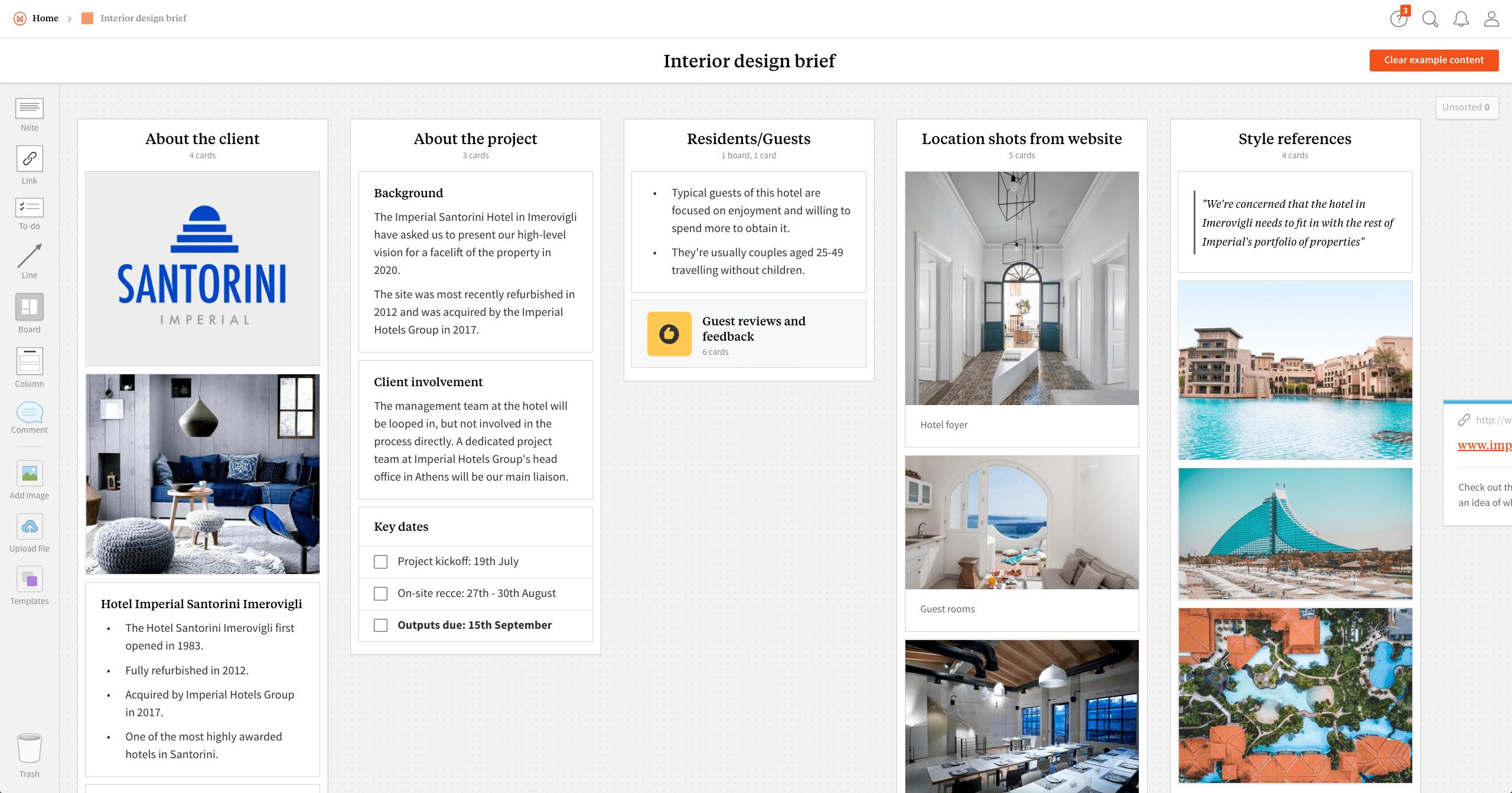 Completed Interior Design Brief Template In Milanote App