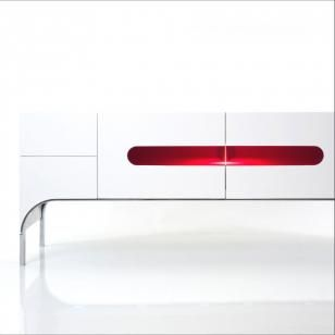 E'PURE by David Lange. Sideboard console, consisting of 2 doors, with 4 draws in Daquacryl®, central area in translucent red Altuglas® and chromed metal legs.