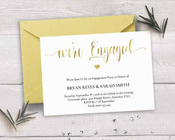 Gold Engagement Invitation Template, We\u0027re Engaged, Calligraphy