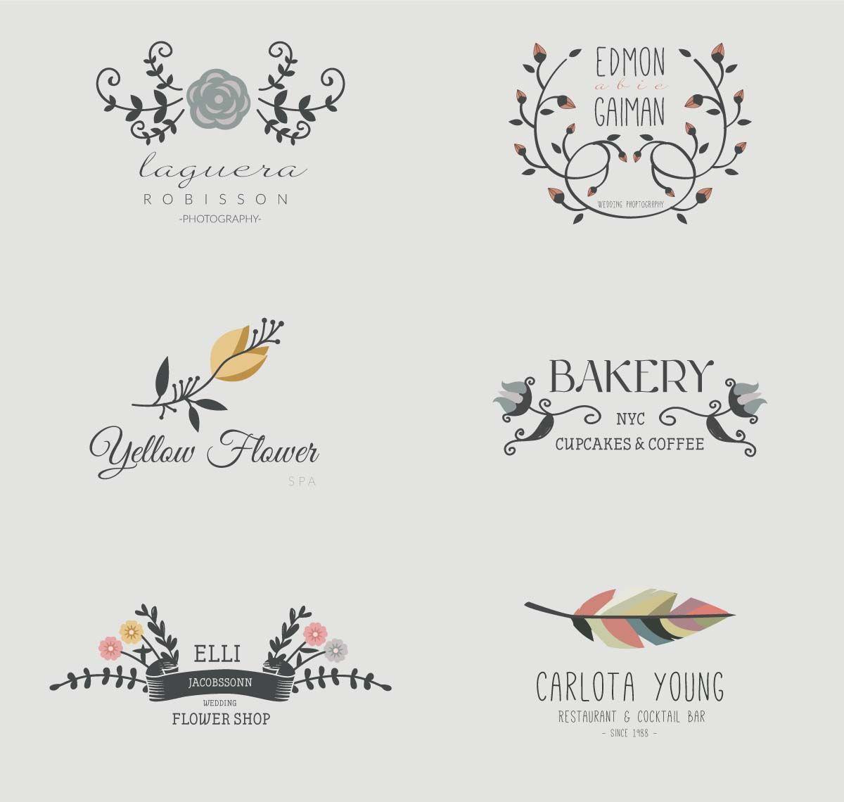 cute wreaths logo bakery cafe shop set vector free